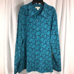 Turquoise Floral Tunic Shirt, Size XL